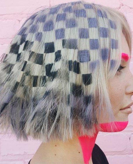 這種把幾何方形搬到頭髮真的是很有創意,像像素有沒有!圖文:悅己網