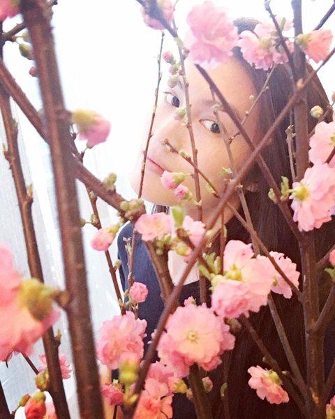 素顔的何穗猶抱琵琶半遮面地襯與花枝後,有意境,倍兒迷人。圖文:悅己網