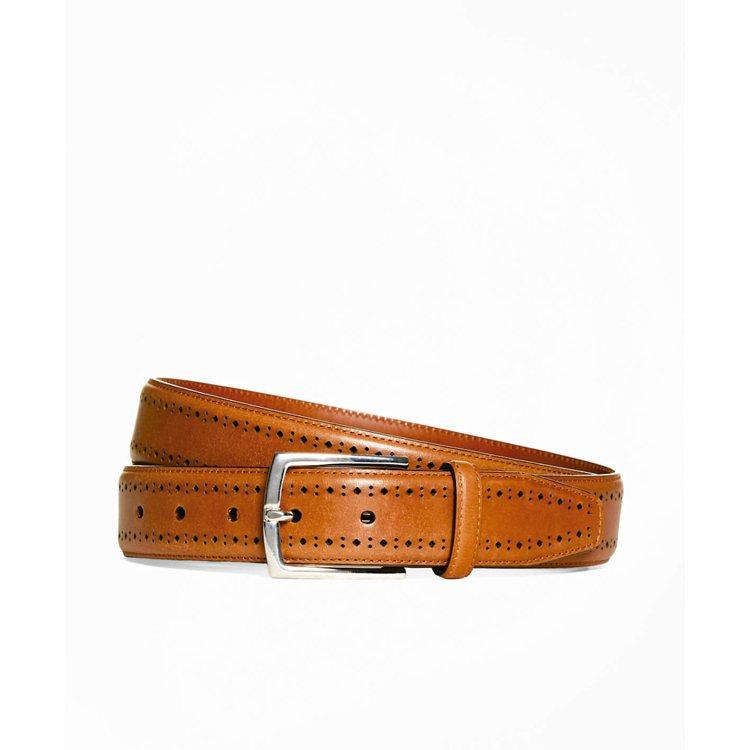 Brooks Brothers棕色雕花皮帶,4590元。 圖/Brooks Br...