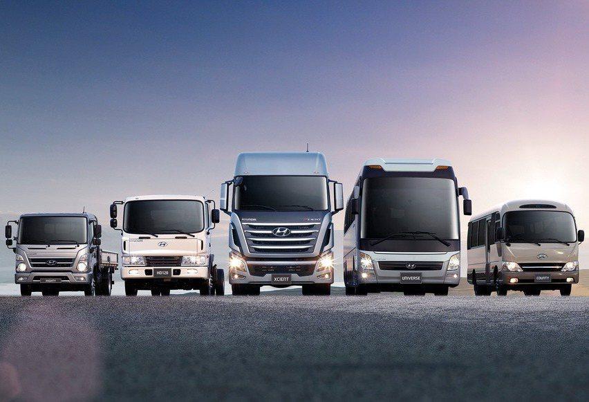 HYUNDAI新世代重型商用車「MEGA」、「XCIENT」等車系,乃至於H350豪華商旅、中大型巴士都將引進販售。 圖/南陽實業提供