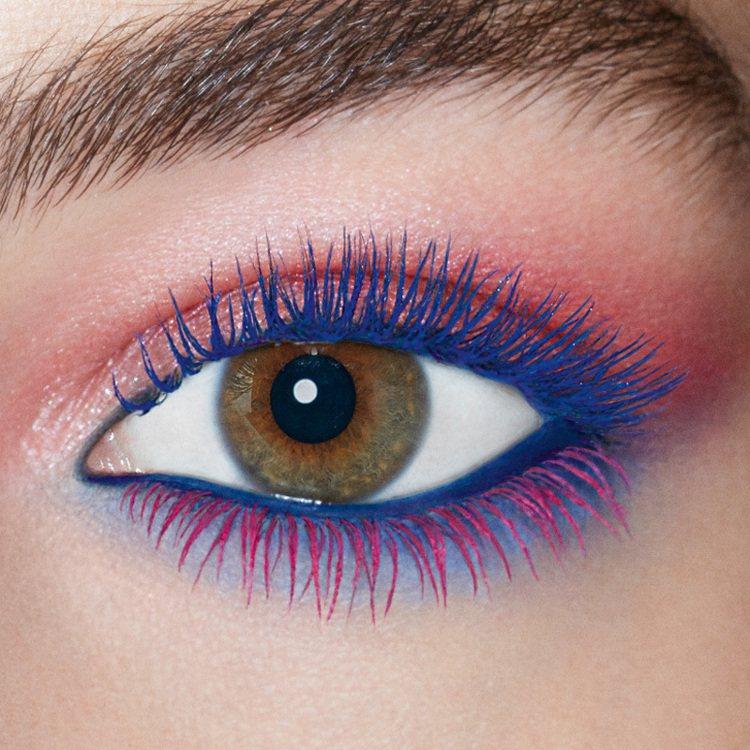 上、下睫毛刷上不同色彩的睫毛膏,讓夏日眼妝更有創意。圖/YSL提供