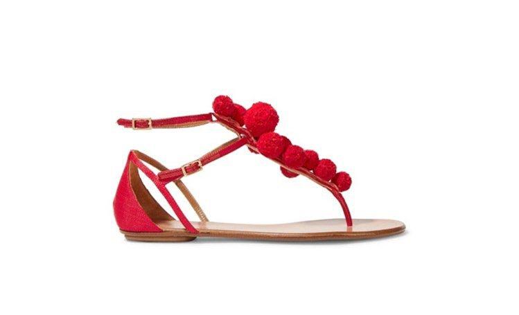 AQUAZZURA紅色毛球涼鞋。圖/NET-A-PORTER提供