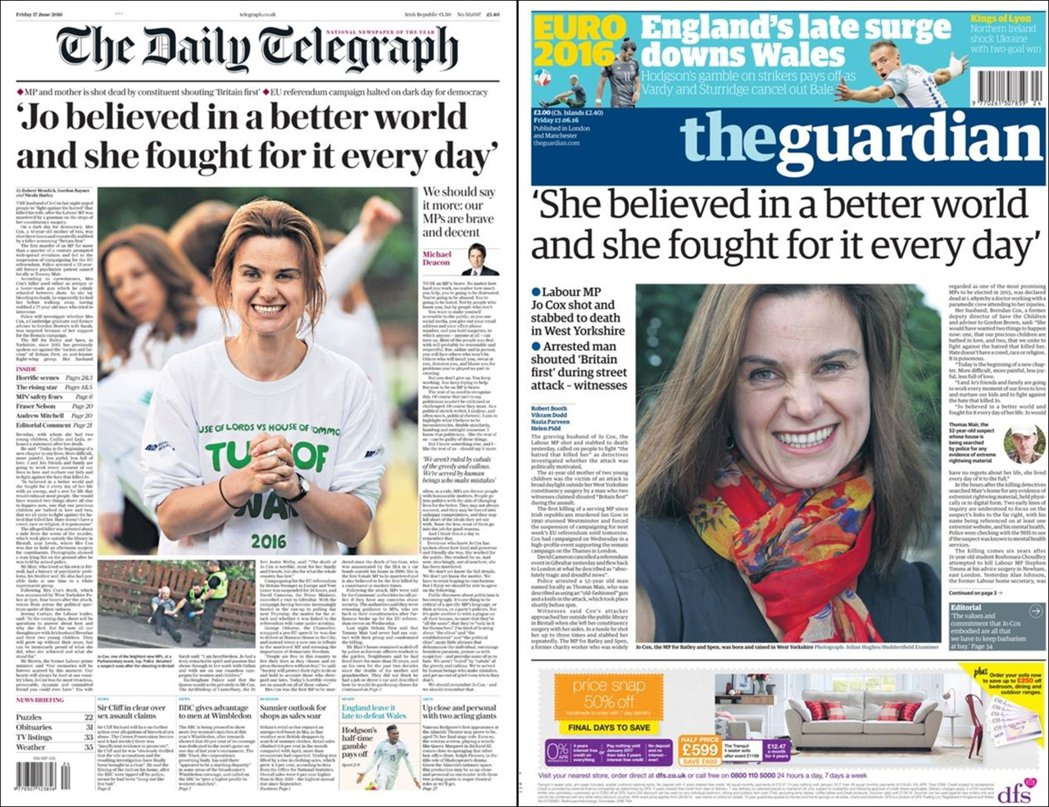 6月17日英國報紙頭條,左邊是支持脫歐的《每日電訊報》,右側則是支持留歐《衛報》...