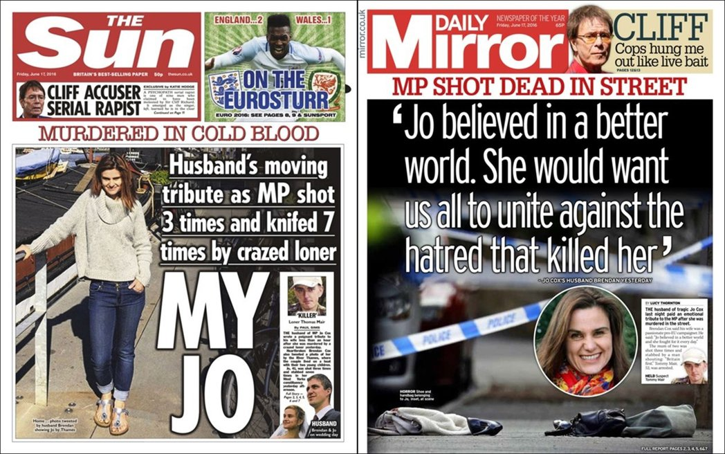 小報的頭條對照:支持脫歐的《太陽報》(左)與留歐態度的《每日鏡報》(右)。