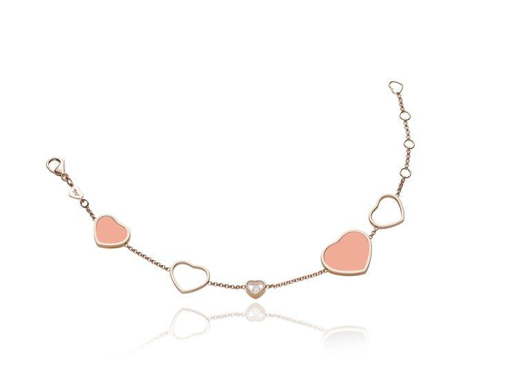 Happy Hearts系列縞瑪瑙手鍊,粉色調表現清新浪漫,10萬6,000元。...