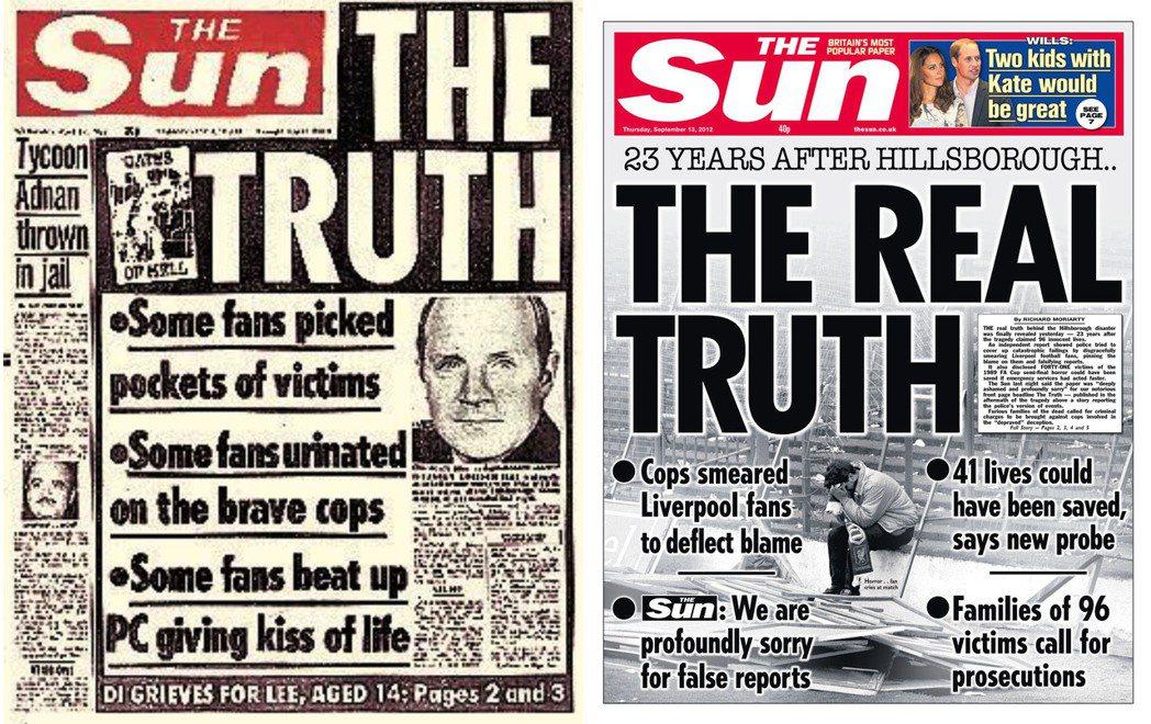 《太陽報》在希爾斯堡慘案時的報導,讓利物浦人至今仍無法原諒梅鐸集團。 圖/《太陽...