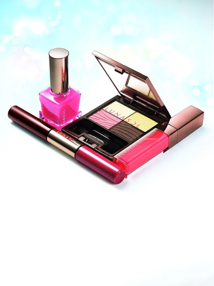 LUNASOL「燦麗淨化─夏限定」系列彩妝的溫暖珊瑚粉色調散發甜美女人味。圖/佳...