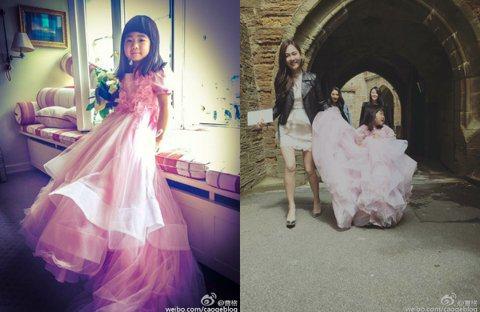 曹格女兒Grace日前參加袁弘、張歆藝婚禮擔任花童,姐姐Grace穿著粉紅色的禮服,模樣萌到翻!