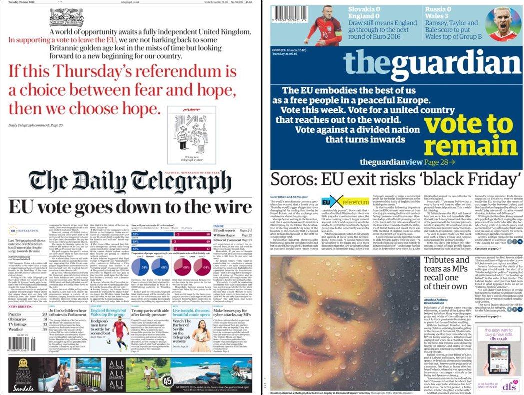 6月21日的《每日電訊報》(左)再次表態脫歐:「如果周四的公投是在恐懼與希望之間...