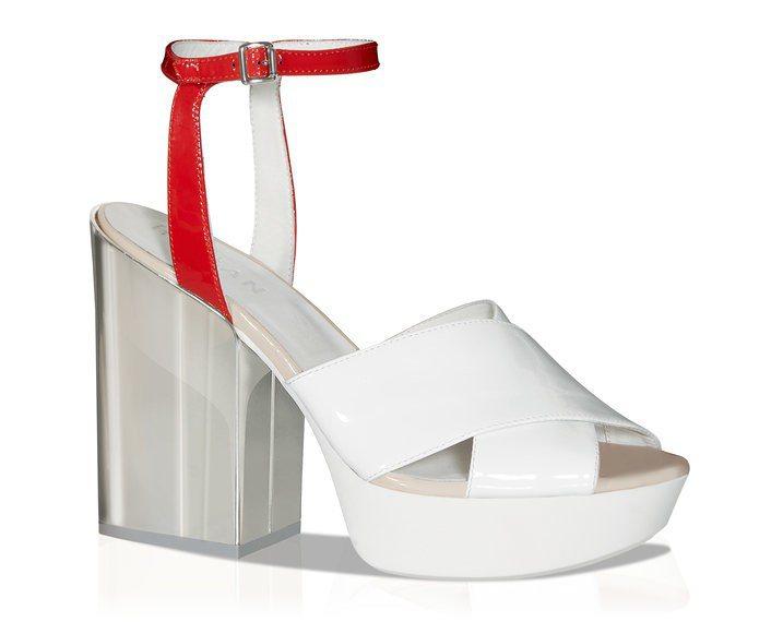 白色拼接紅色漆亮皮革粗高跟涼鞋,售價21,200元。圖/HOGAN提供