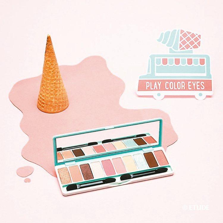 ETUDE HOUSE推出10色冰淇淋雪糕限量眼彩盤。 圖/ETUDE HOUS...