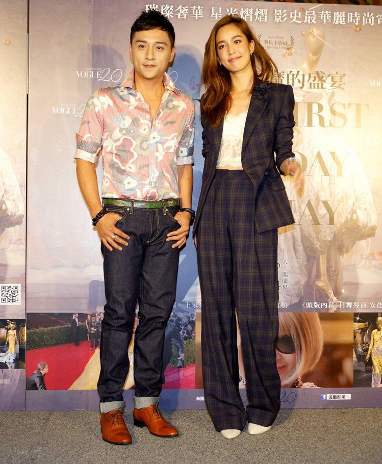 《時尚惡魔的盛宴》在台盛大舉行首映,陳庭妮以一身格紋西裝褲裝現身,內搭白色蕾絲小...
