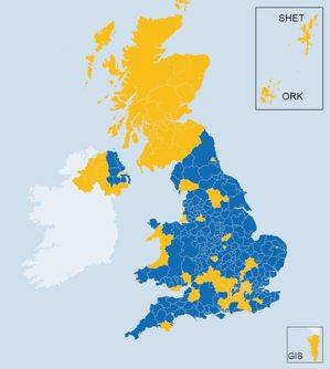 藍色為脫歐;黃色為留歐。 圖擷自 <a href='http://www.bbc...