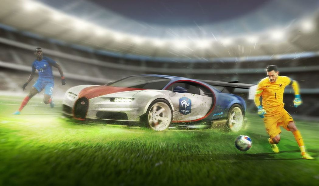 法國國家隊與Bugatti Chiron。 摘自carwow.co.uk