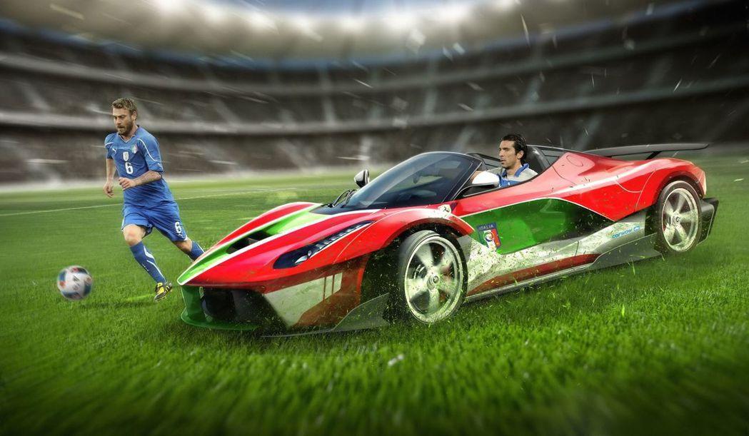 義大利國家隊與Ferrari LaFerrari Spider。 摘自carwow.co.uk