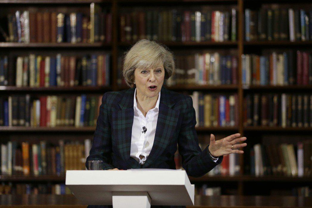 目前聲勢排名第一的內政大臣德蕾莎.梅伊(Theresa May) 圖/美聯社
