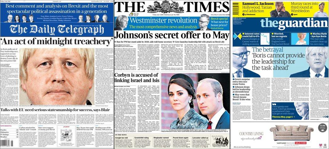 圖/《每日電訊報》、《泰晤士報》、《衛報》7月1日頭版。