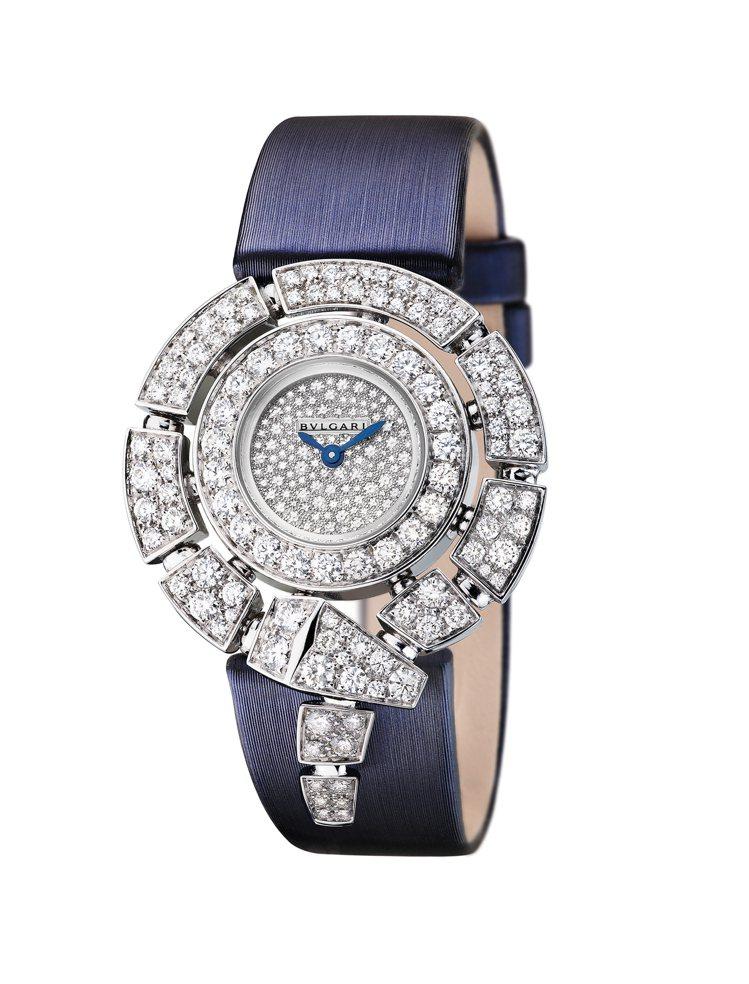 Serpenti Incantati珠寶腕表,18K白金表殼鑲鑽,雪花鋪鑲面盤,...