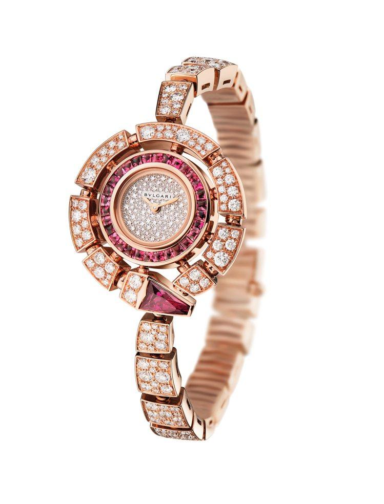 Serpenti Incantati珠寶腕表,18K玫瑰金表殼、表鍊,鑲嵌鑽石與...
