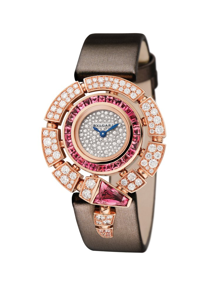 Serpenti Incantati珠寶腕表,18K玫瑰金表殼鑲嵌鑽石與紅碧璽,...