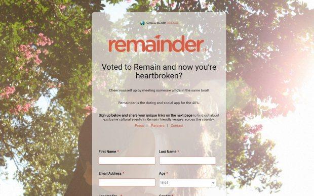 這款App仍讓英國單身男女避免遇上立場不同的對象。(取自Remainder Ap...