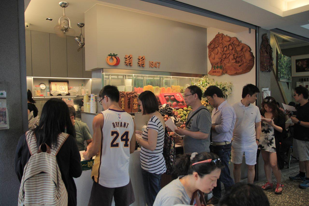 莉莉水果店每到夏日,便成為觀光客熱門景點之一,傍晚時仍大排長龍。記者鄭宏斌/攝影