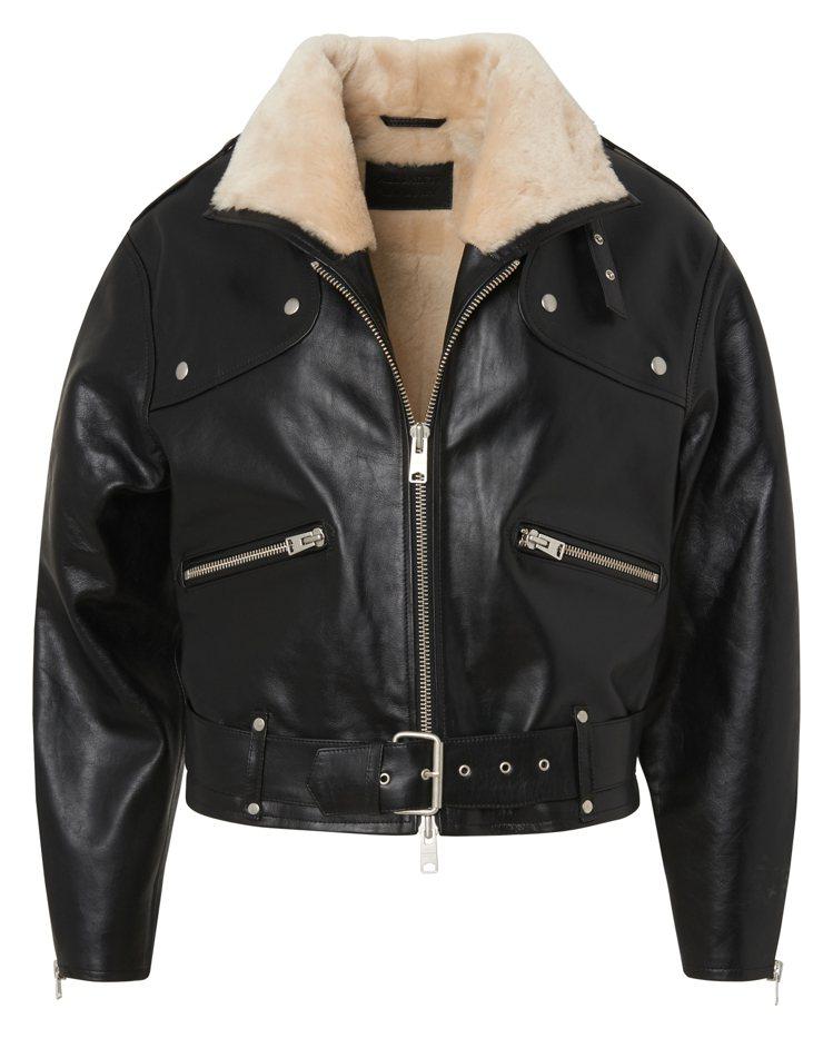 Allsaints黑色亮面處理皮革騎士外套,35,900元。圖/Allsaint...