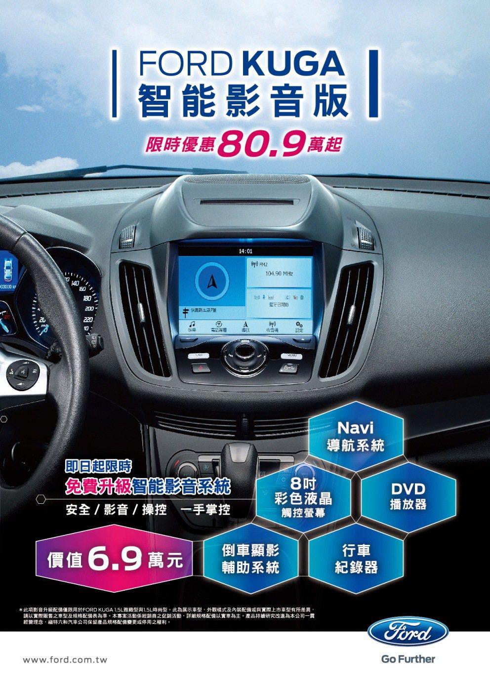 FORD於七月份起推出「Ford Kuga智能影音版」,總價值高達新台幣6.9萬...