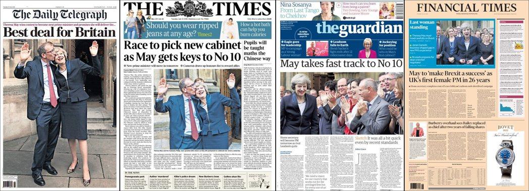 由左至右:傾右《每日電訊報》,「不列顛最好的選擇」;傾右《泰晤士報》,「梅伊拿到...
