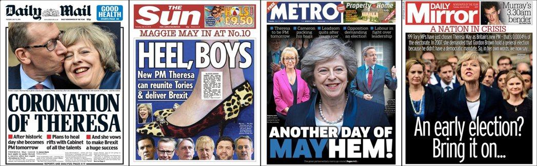由左至右:傾右《每日郵報》,「加冕德雷莎」;傾右《太陽報》,「跟上腳步吧,男孩們...