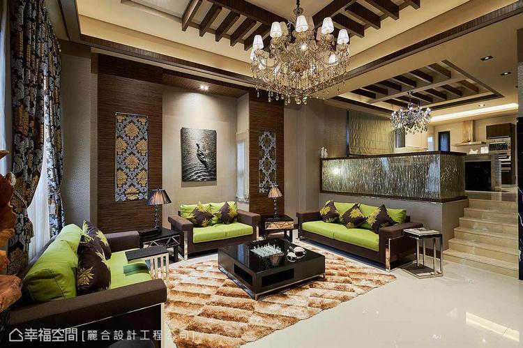 ▲會客廳:以私人避暑的休閒空間做為規劃,亮綠色系點綴其中,烘托鮮明的視覺新意。