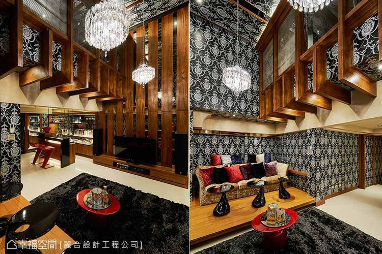 ▲用色大膽:壁面以黑白色系、優雅弧形交織的壁紙鋪陳,飾以木紋的家具與結構設計,調...