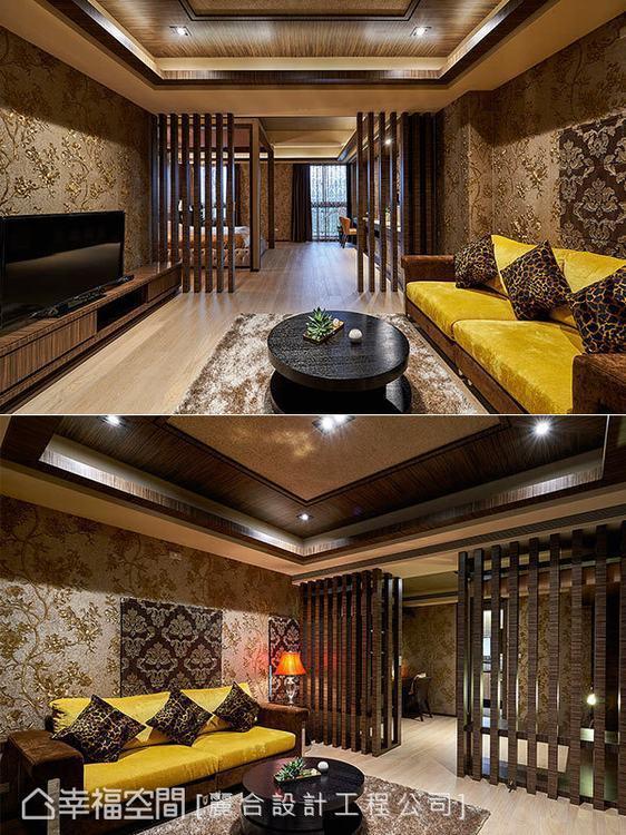 ▲主臥室:利用東方風情的格柵造型做為領域隔屏,替花卉、動物紋充滿的空間增添一股安...