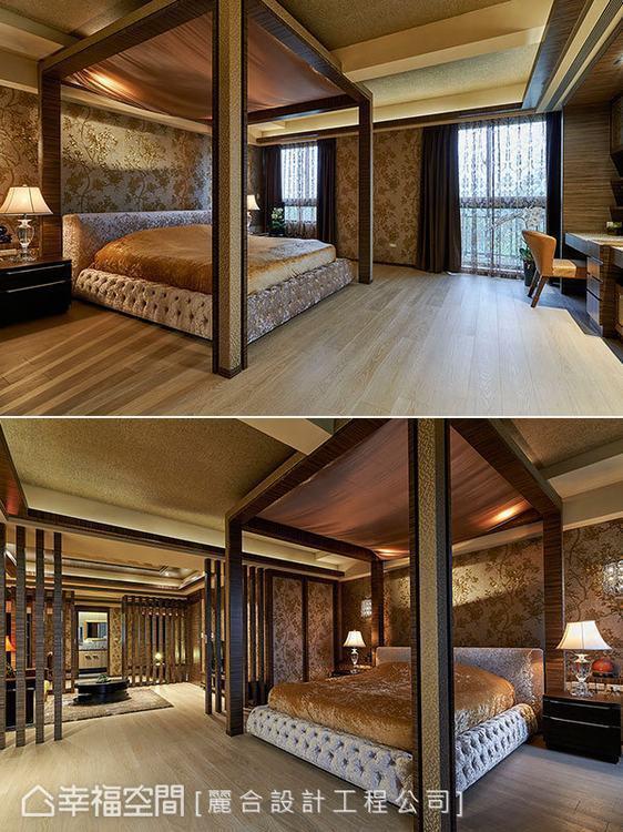 ▲帳篷式造型:床的上方考量橫樑問題,因而設計出帳篷式的造型,巧妙掩飾天花的大樑結...