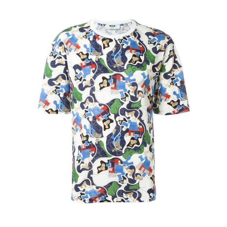 MSGM 短袖迷彩地圖T恤,9,380元。 圖/Onefifteen初衣食午提供