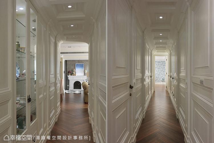 ▲廊道:在門不對門的風水限制下,湯鎮權設計師以過人功力刻劃對稱有致的美感線條。