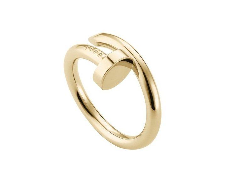 卡地亞Juste un Clou系列戒指,黃K金,參考價格73,500元。圖/卡...