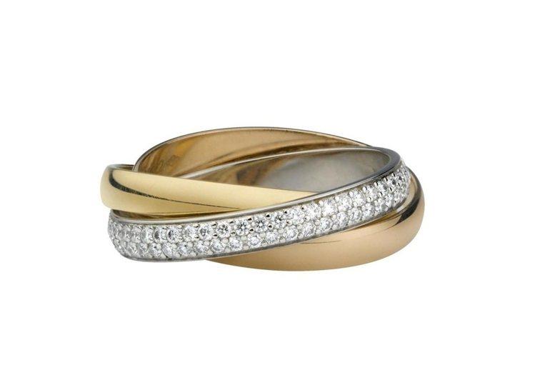 卡地亞Trinity系列鋪鑲鑽戒指,窄版,三色金,鑲嵌102顆圓形明亮式切割鑽石...