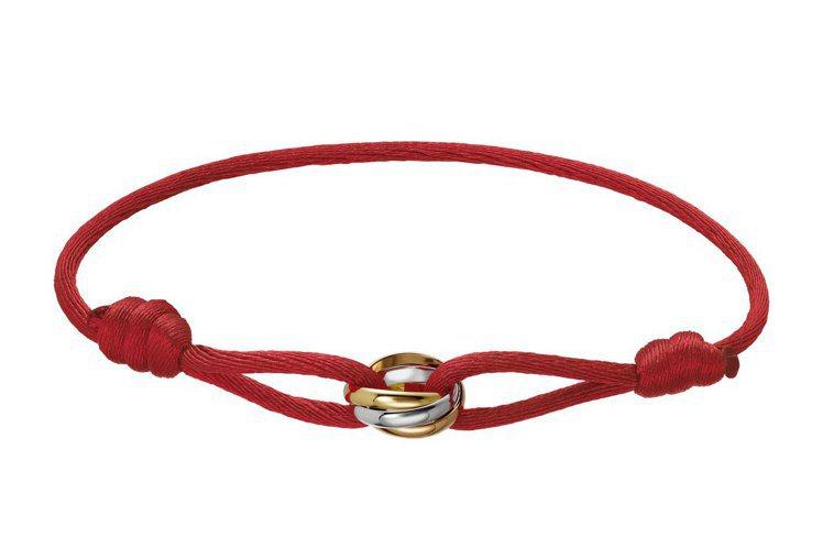 卡地亞Trinity系列絲繩手環,三色金,附帶絲繩,可免費替換25種顏色,參考價...