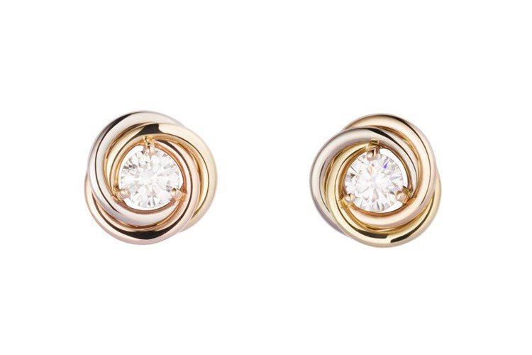 卡地亞Trinity系列鑽石耳環,三色金,鑲嵌鑽石,參考價格19萬元。圖/卡地亞...