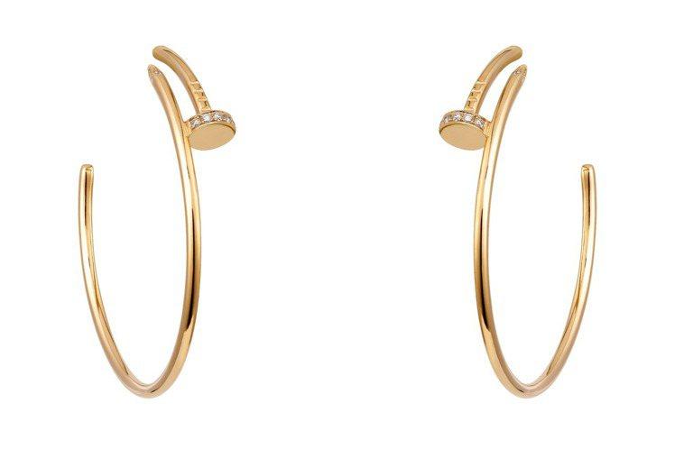 卡地亞Juste un Clou系列鑽石耳環,黃K金,鑲嵌28顆圓形明亮式切割鑽...