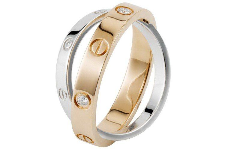 卡地亞LOVE系列雙環鑽石戒指,玫瑰K金及白K金,鑲嵌6顆圓形明亮式切割鑽石。參...