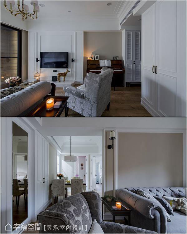 ▲這一戶輕美式風格的居家,客廳主牆以簡單的線板框出美式語彙,同時以藤、白雙色主牆...