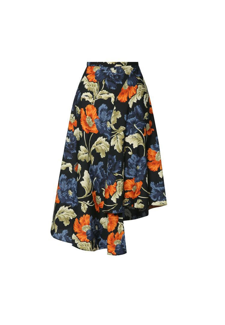 TOPSHOP 不對稱花卉裙 NT$ 2000。圖/ZALORA提供