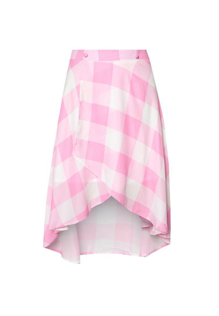 f block 格紋不對稱短裙 NT$ 549。圖/ZALORA提供