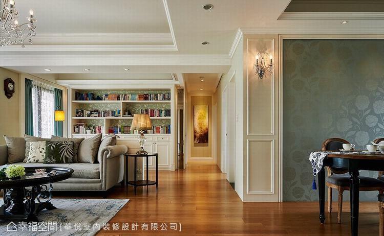 ▲廊道端景:廊道盡頭掛上藝術畫作,成為充滿藝文氣息的視覺端景。