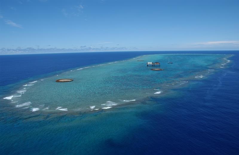 沖之鳥礁。 圖/取自日本國土交通省