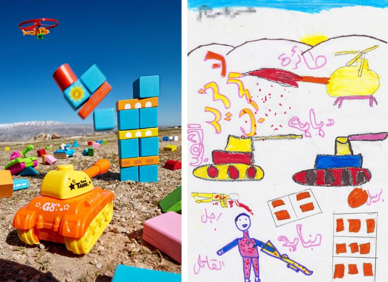 可愛的積木背後是戰地兒童們童年的恐怖回憶。圖擷自Slate(07/11)