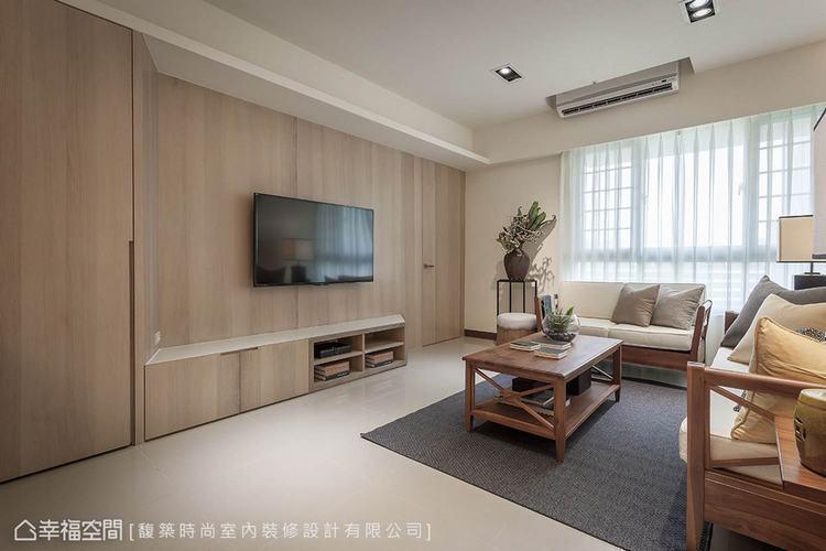 ▲電視牆:採木作方式打造而成,使用斜角收邊設計,消磨銳利的稜角,創造空間張力。