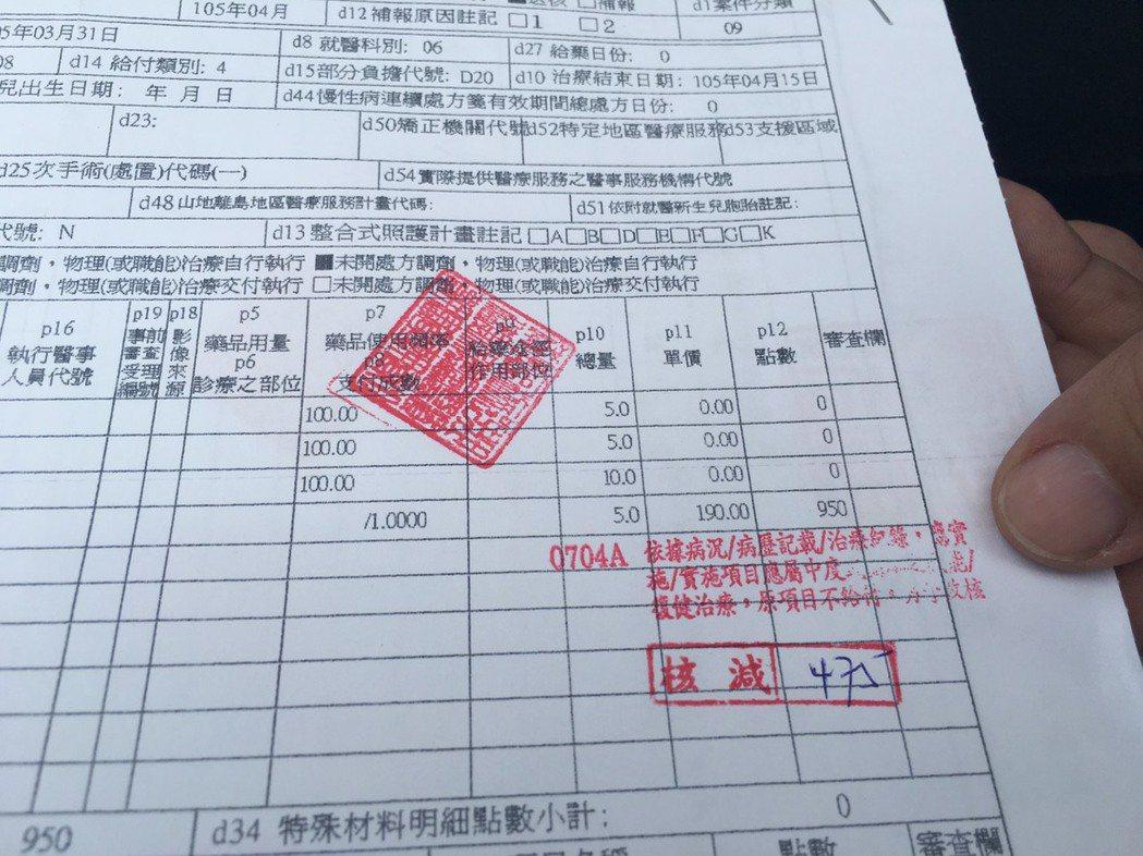 汪立偉出示健保核刪單據。記者江慧珺/攝影